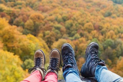 Couple Hiking in the Poconos in the Fall